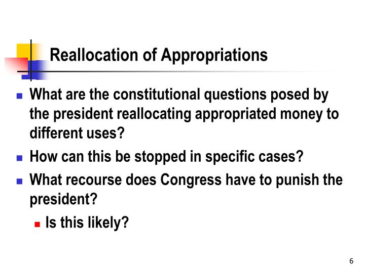 Reallocation of Appropriations