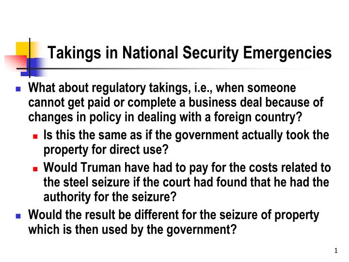 Takings in national security emergencies