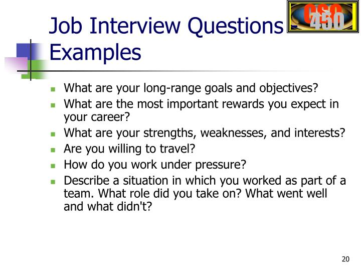Job Interview Questions - Examples