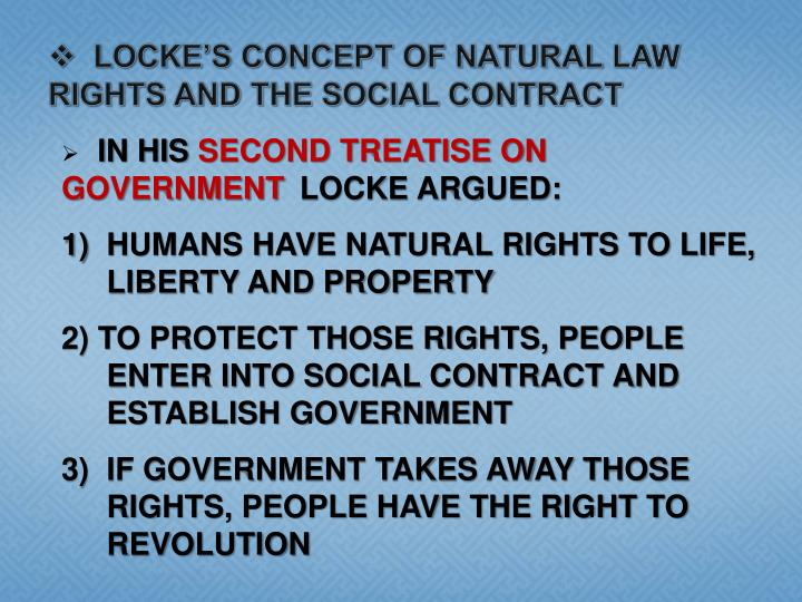 LOCKE'S CONCEPT OF NATURAL LAW RIGHTS AND THE SOCIAL CONTRACT