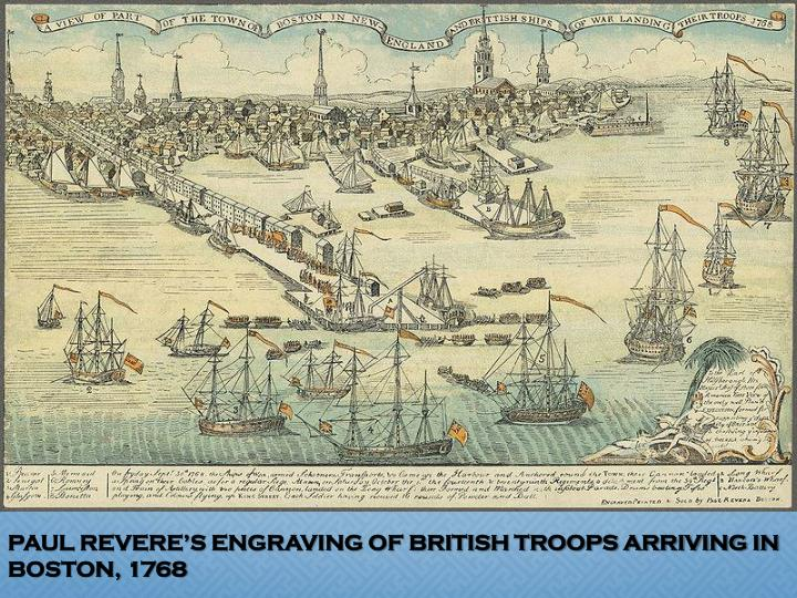 PAUL REVERE'S ENGRAVING OF BRITISH TROOPS ARRIVING IN BOSTON, 1768