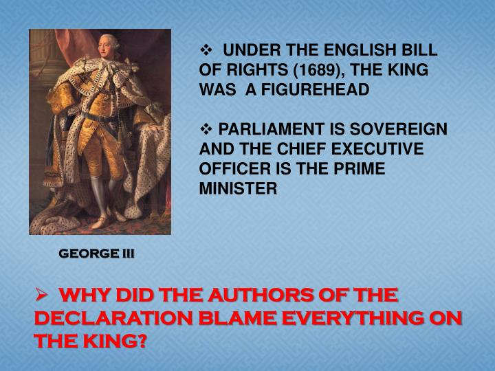 UNDER THE ENGLISH BILL OF RIGHTS (1689), THE KING WAS  A FIGUREHEAD
