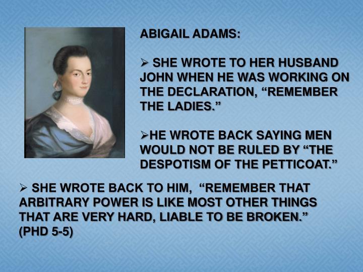 ABIGAIL ADAMS: