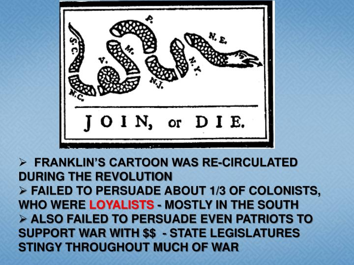 FRANKLIN'S CARTOON WAS RE-CIRCULATED DURING THE REVOLUTION