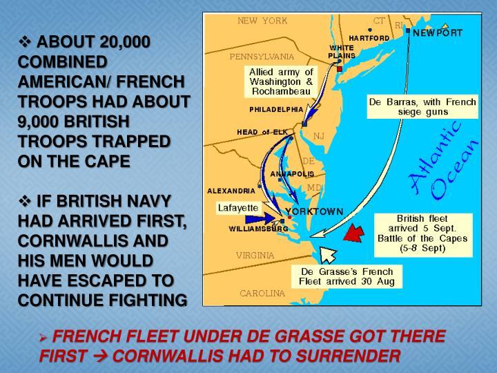 ABOUT 20,000 COMBINED AMERICAN/ FRENCH TROOPS HAD ABOUT 9,000 BRITISH TROOPS TRAPPED ON THE CAPE