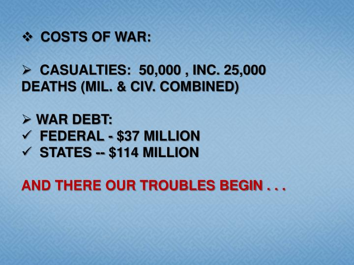 COSTS OF WAR: