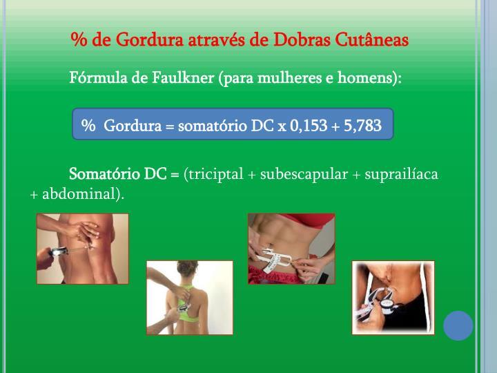 % de Gordura atravs de Dobras Cutneas