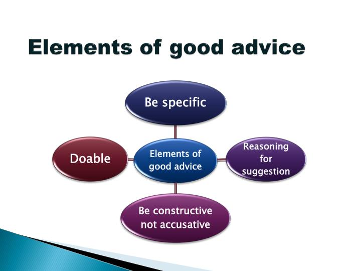 Elements of good advice