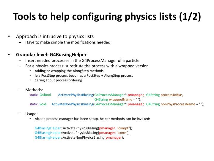 Tools to help configuring physics lists (1/2)