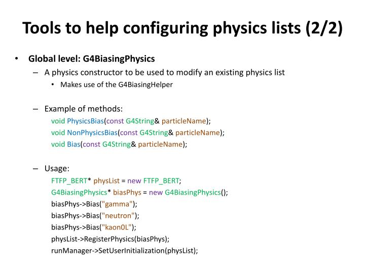 Tools to help configuring physics lists (2/2)