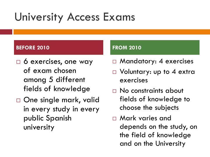 University Access Exams