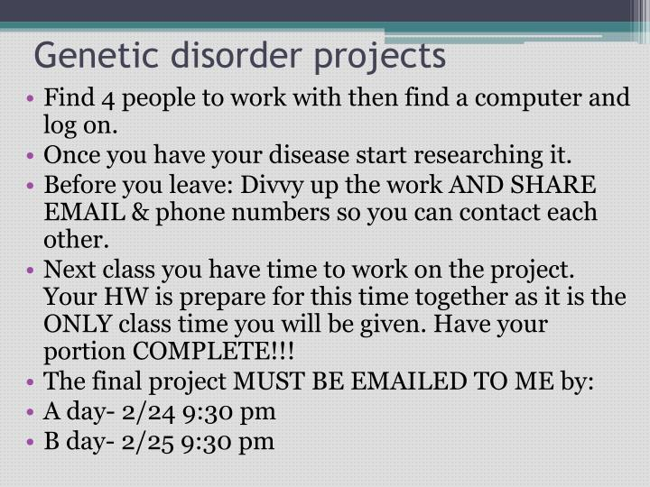 Genetic disorder projects