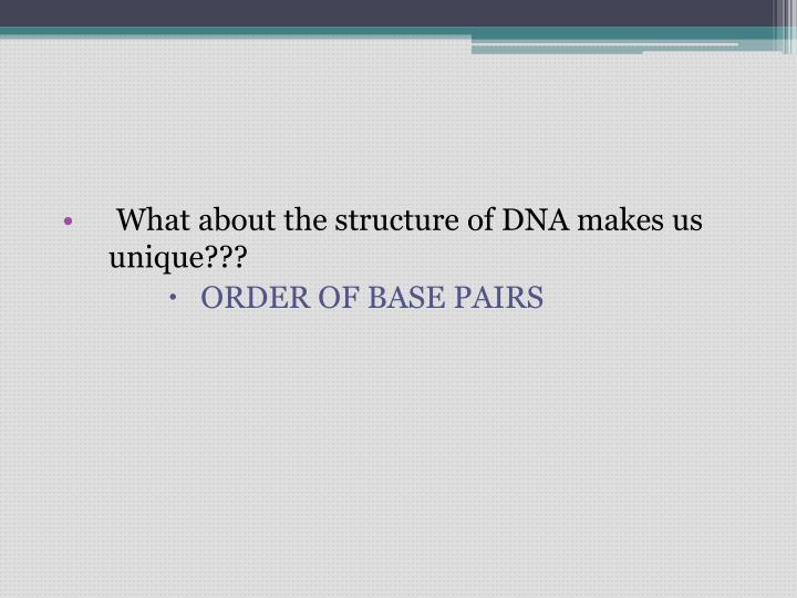 What about the structure of DNA makes us unique???