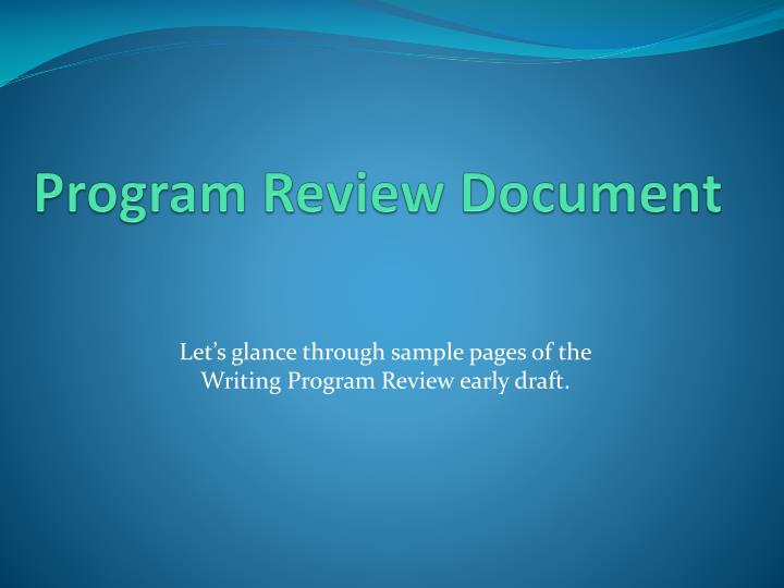 Program Review Document