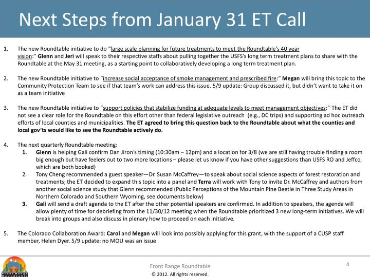 Next Steps from January 31 ET Call
