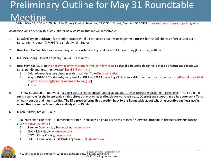 Preliminary Outline for May 31 Roundtable Meeting