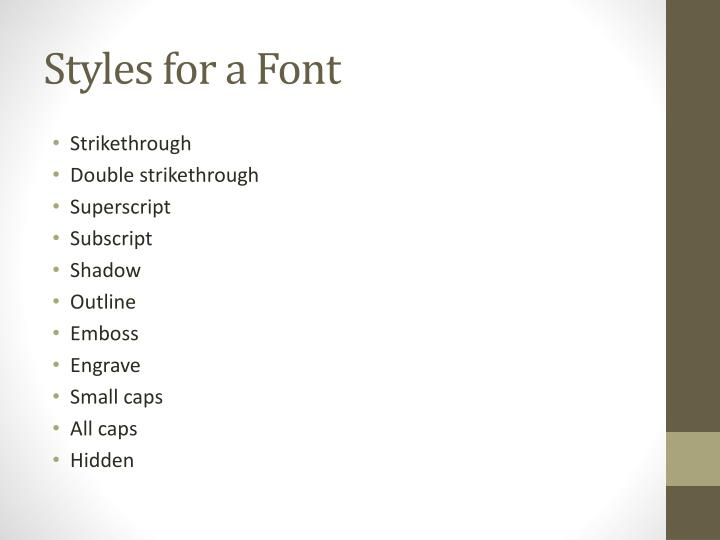 Styles for a Font
