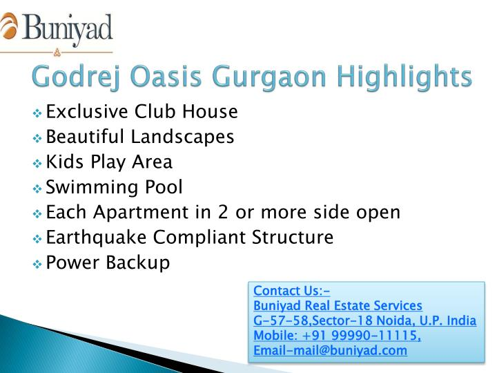 Godrej oasis gurgaon highlights