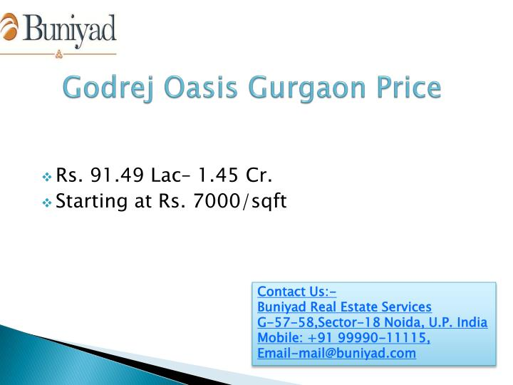 Godrej Oasis Gurgaon Price