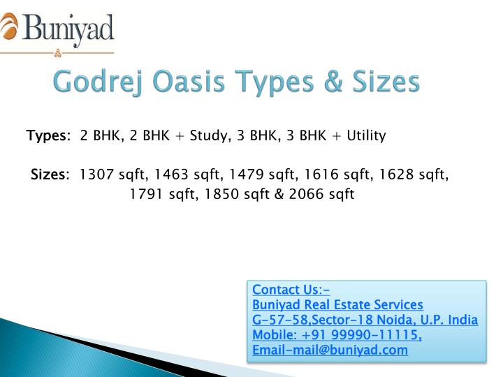 Godrej Oasis Types & Sizes