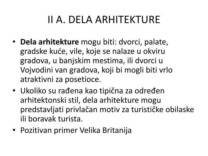 II A. DELA ARHITEKTURE