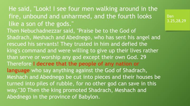 """He said, """"Look! I see four men walking around in the fire, unbound and unharmed, and the fourth looks like a son of the gods."""""""