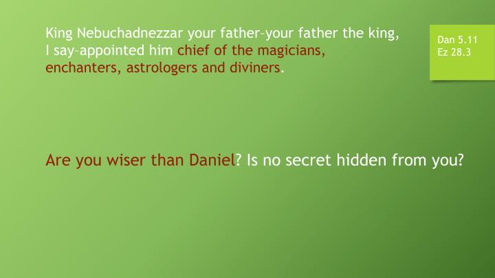 King Nebuchadnezzar your father–your father the king, I say–appointed him