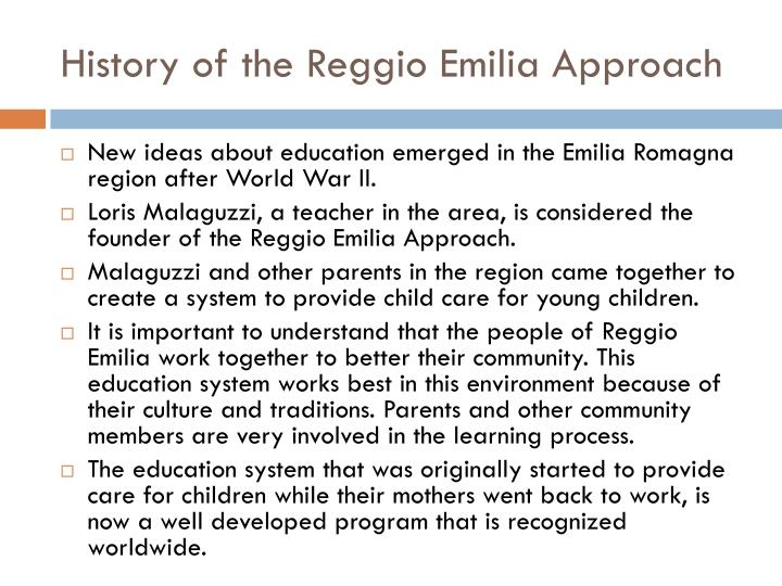 reggio emilia research papers Study the teacher/researcher became reggio emilia-inspired in her class   children made a house from beads on a paper and shared it with the classroom.