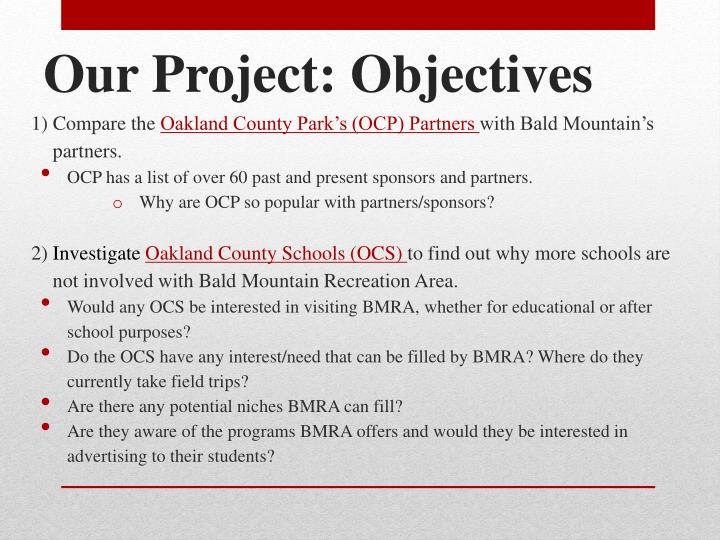 Our Project: Objectives
