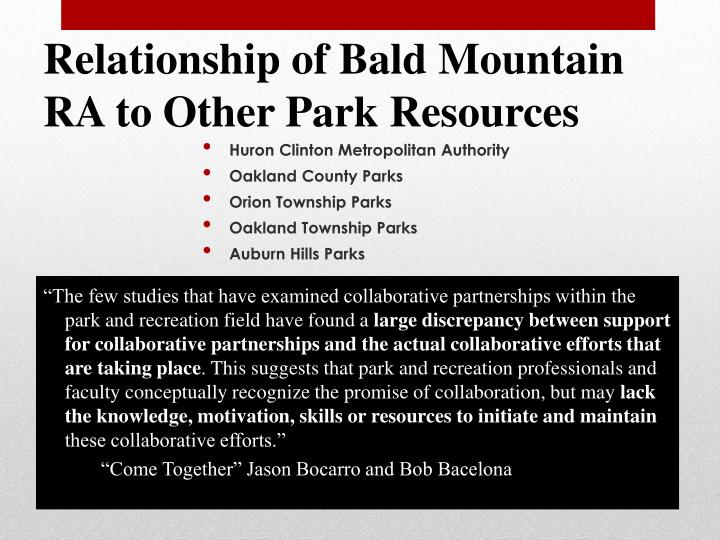 """The few studies that have examined collaborative partnerships within the park and recreation field have found a"