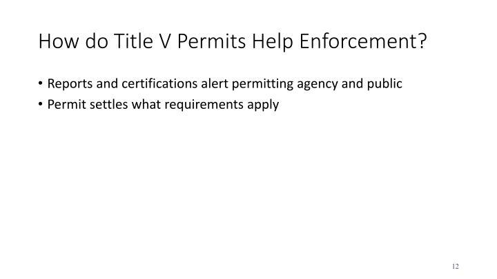 How do Title V Permits Help Enforcement?