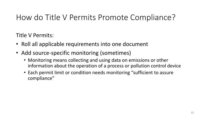 How do Title V Permits Promote Compliance?