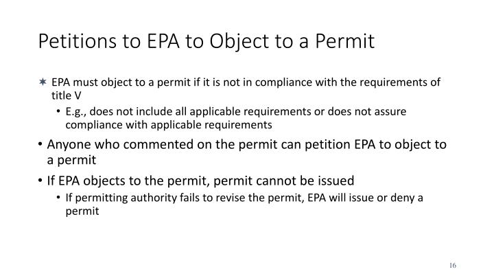 Petitions to EPA to Object to a Permit