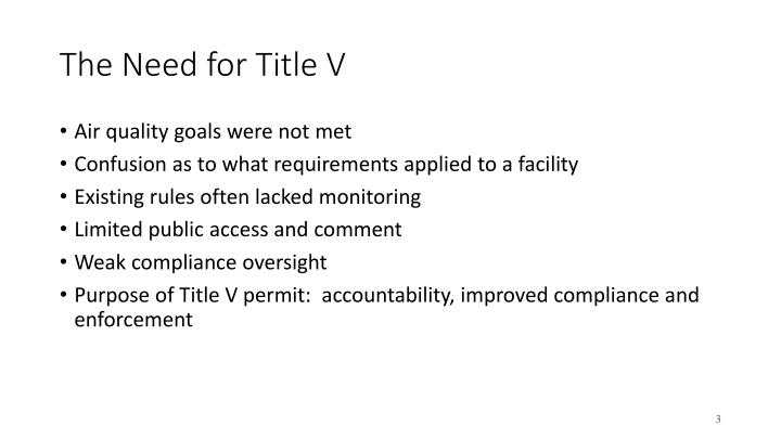 The Need for Title V
