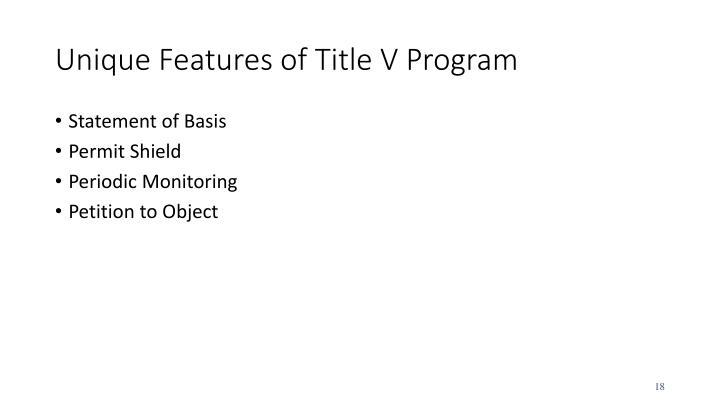 Unique Features of Title V Program