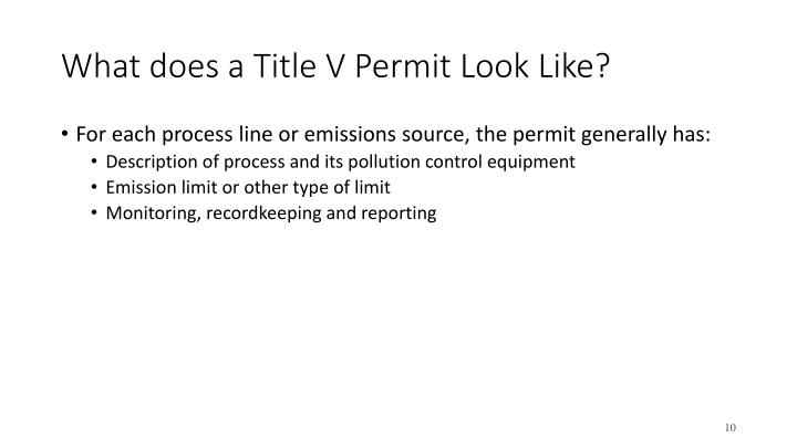 What does a Title V Permit Look Like?