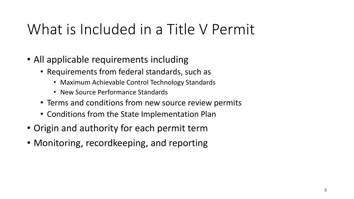 What is Included in a Title V Permit