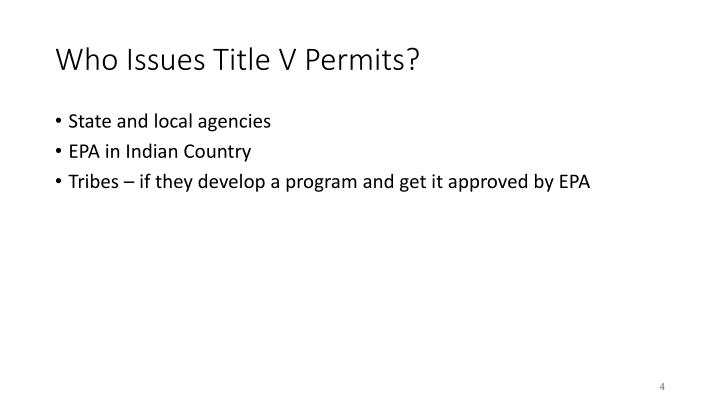Who Issues Title V Permits?