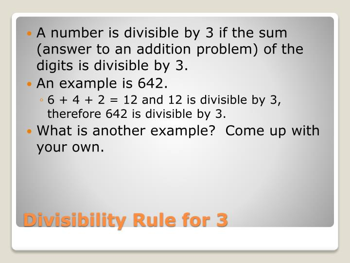 A number is divisible by 3 if