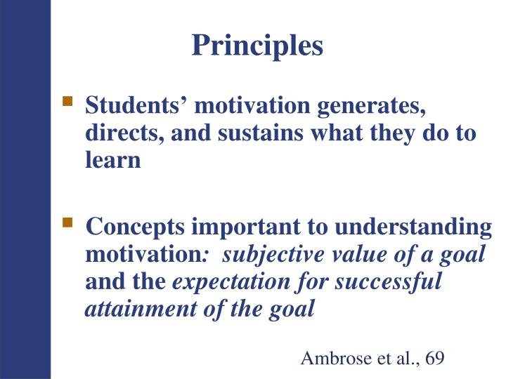 Students' motivation generates, directs, and sustains what they do to learn