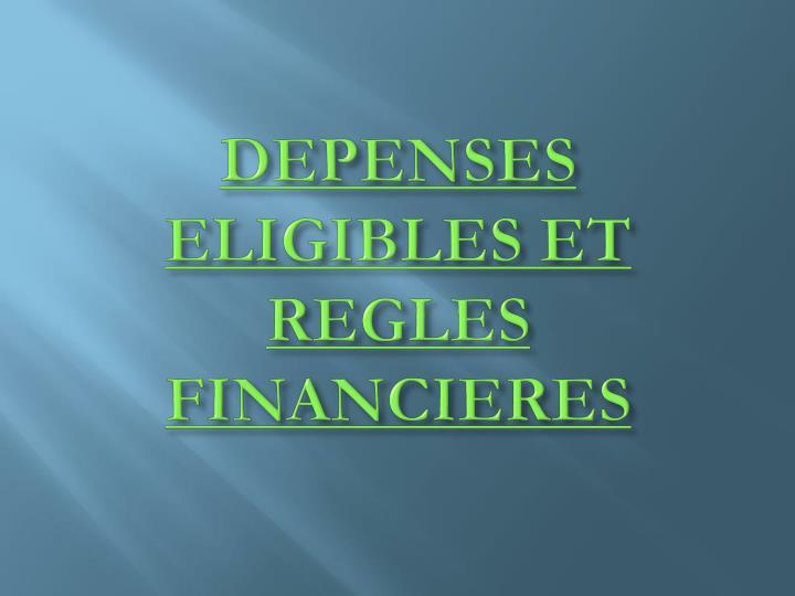 DEPENSES ELIGIBLES ET REGLES FINANCIERES