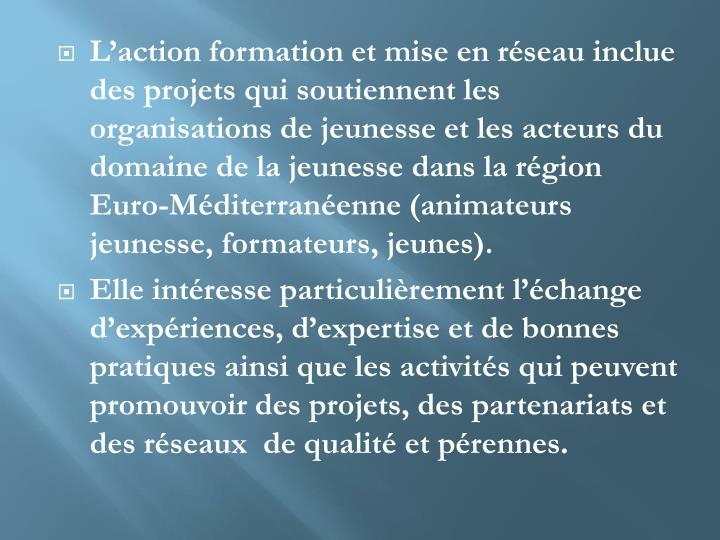 L'action formation et mise en réseau inclue des projets qui soutiennent les organisations de jeunesse et les acteurs du domaine de la jeunesse dans la région
