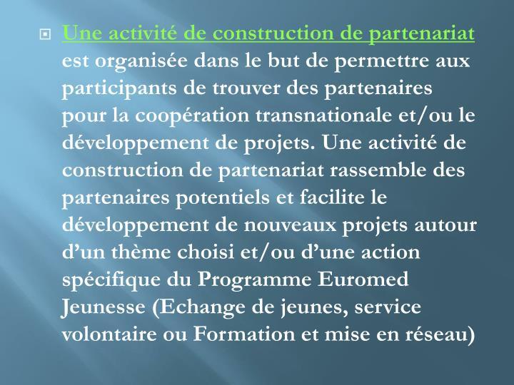 Une activité de construction de partenariat
