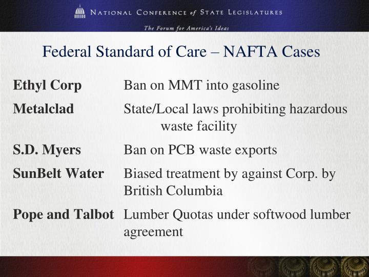 Federal Standard of Care – NAFTA Cases