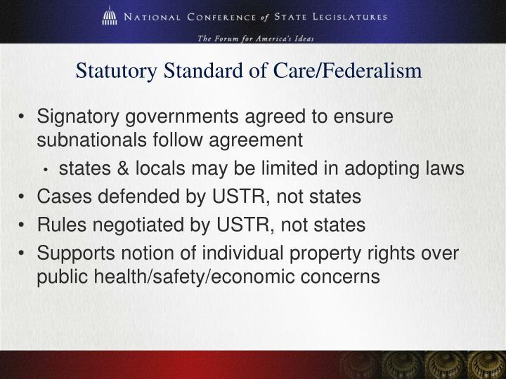 Statutory Standard of Care/Federalism