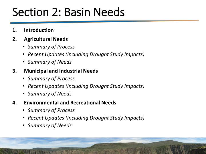Section 2: Basin Needs