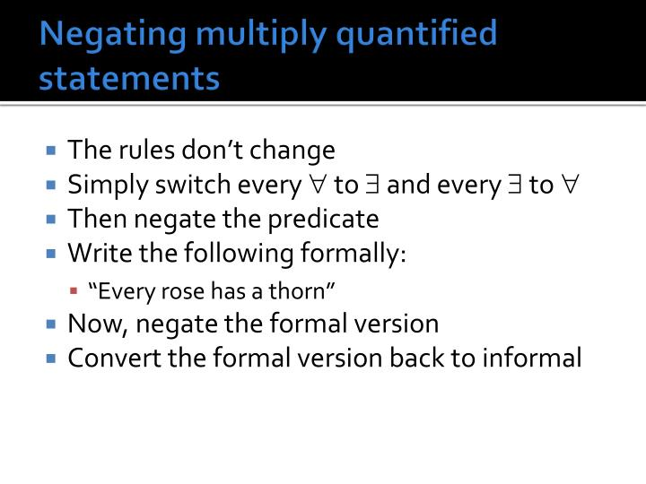 Negating multiply quantified statements
