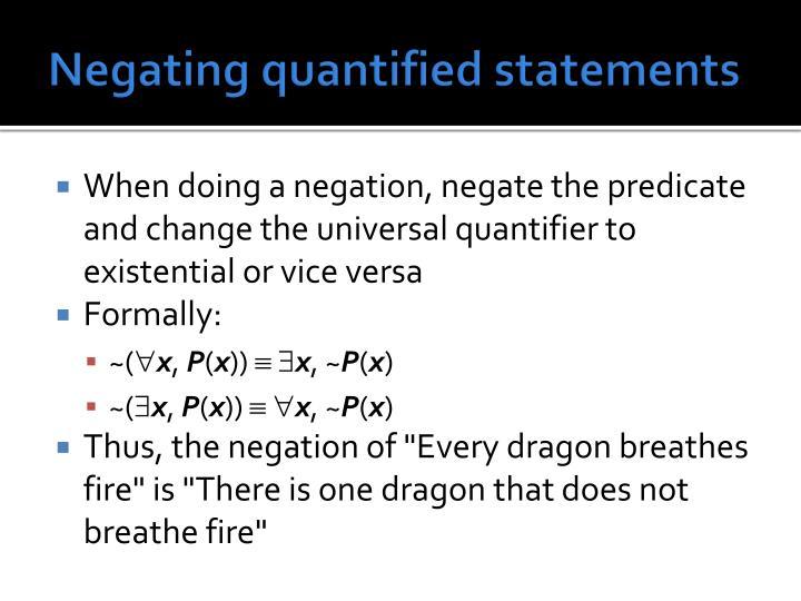 Negating quantified statements