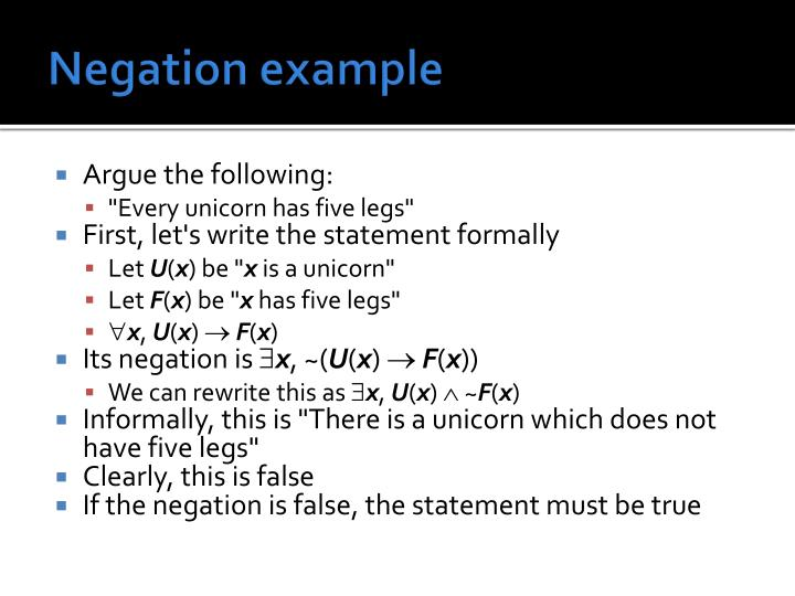 Negation example