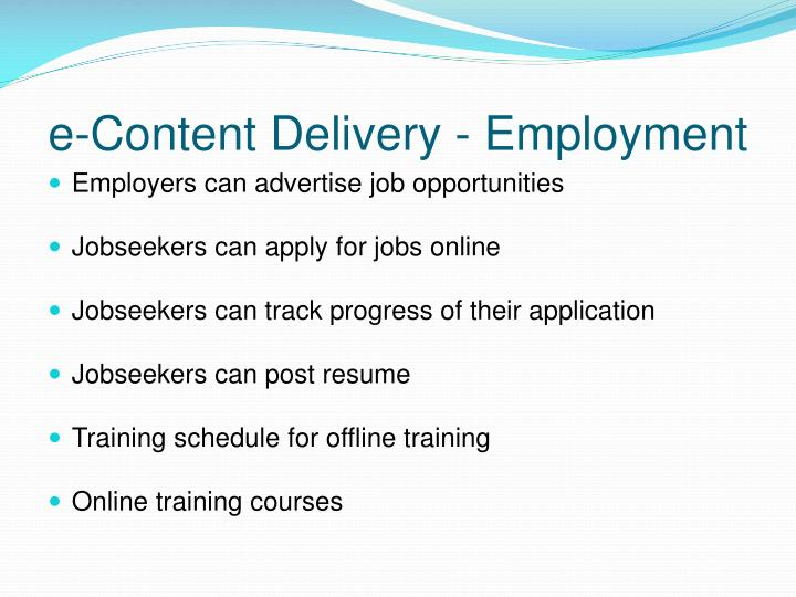 e-Content Delivery - Employment